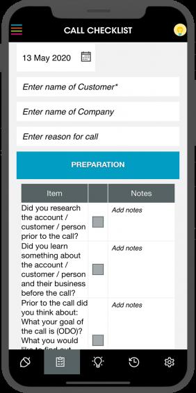 Telephone Sales - Call Checklist